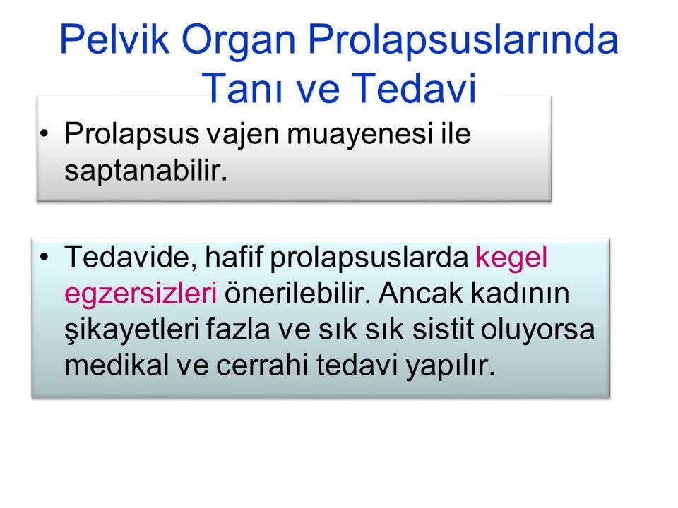 Pelvik Organ Prolapsuslarında Tanı ve Tedavi Prolapsus vajen muayenesi ile saptanabilir. Tedavide, hafif prolapsuslarda kegel egzersizleri önerilebili