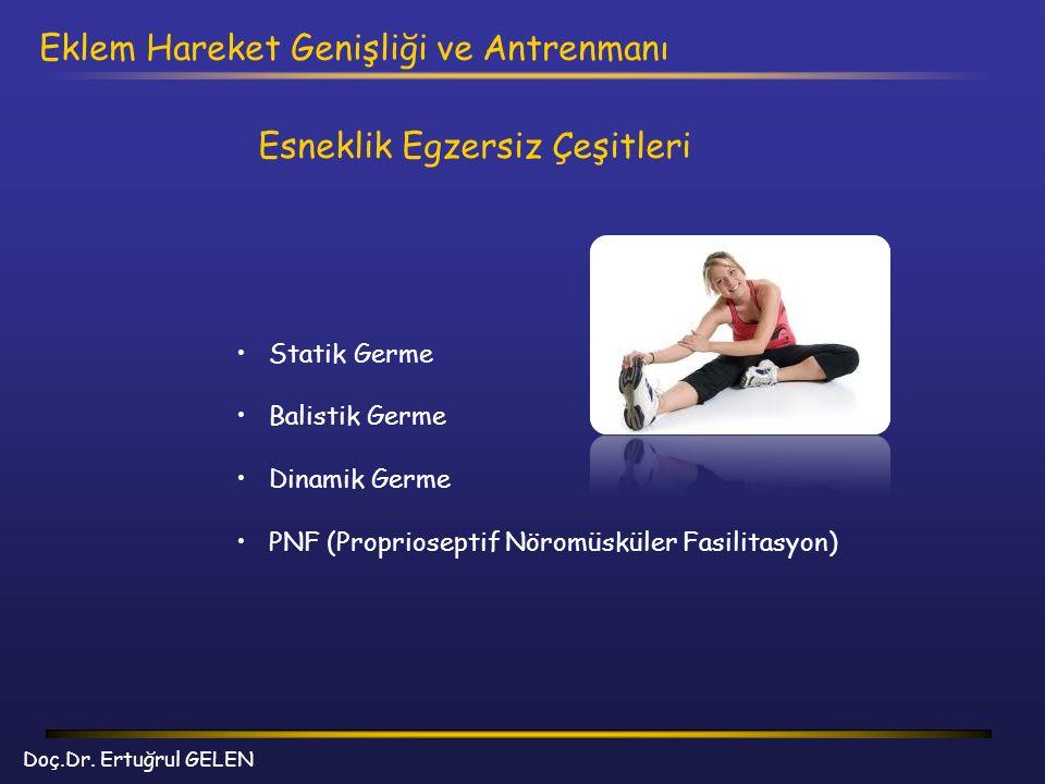 Doç.Dr. Ertuğrul GELEN Eklem Hareket Genişliği ve Antrenmanı Esneklik Egzersiz Çeşitleri Statik Germe Balistik Germe Dinamik Germe PNF (Proprioseptif