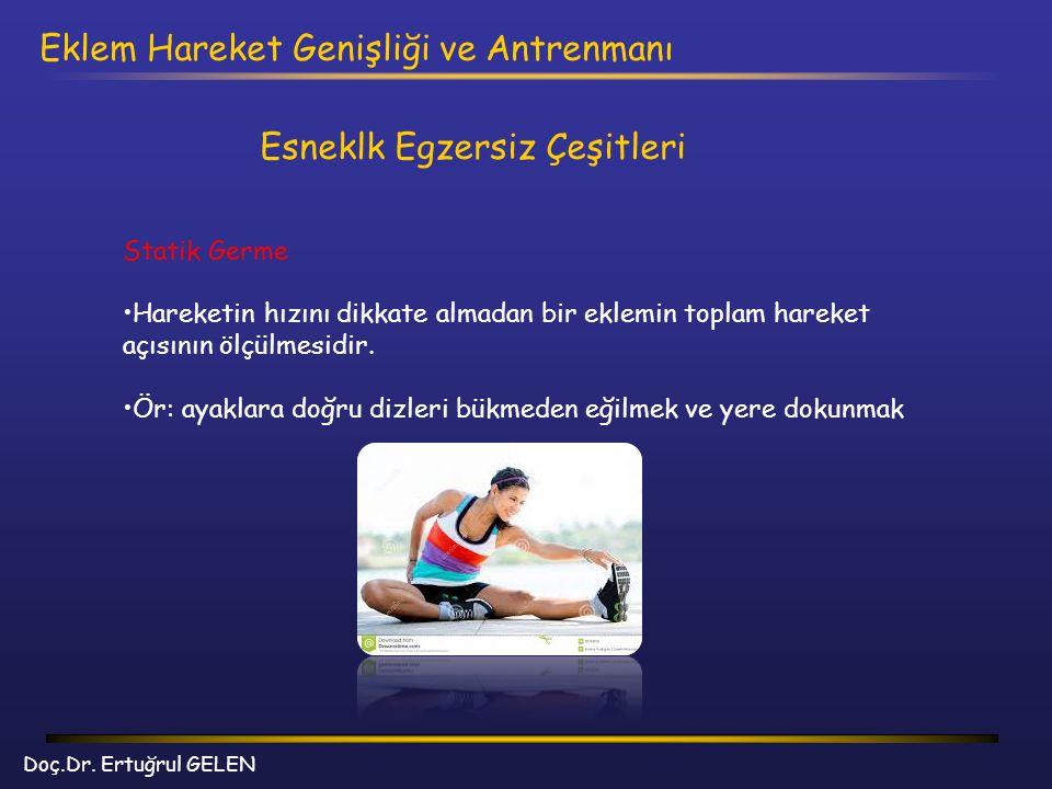 Doç.Dr. Ertuğrul GELEN Eklem Hareket Genişliği ve Antrenmanı Esneklk Egzersiz Çeşitleri Statik Germe Hareketin hızını dikkate almadan bir eklemin topl