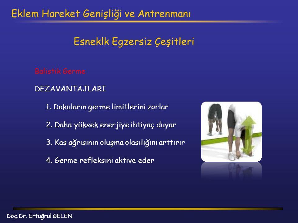 Doç.Dr. Ertuğrul GELEN Eklem Hareket Genişliği ve Antrenmanı Esneklk Egzersiz Çeşitleri Balistik Germe DEZAVANTAJLARI 1. Dokuların germe limitlerini z