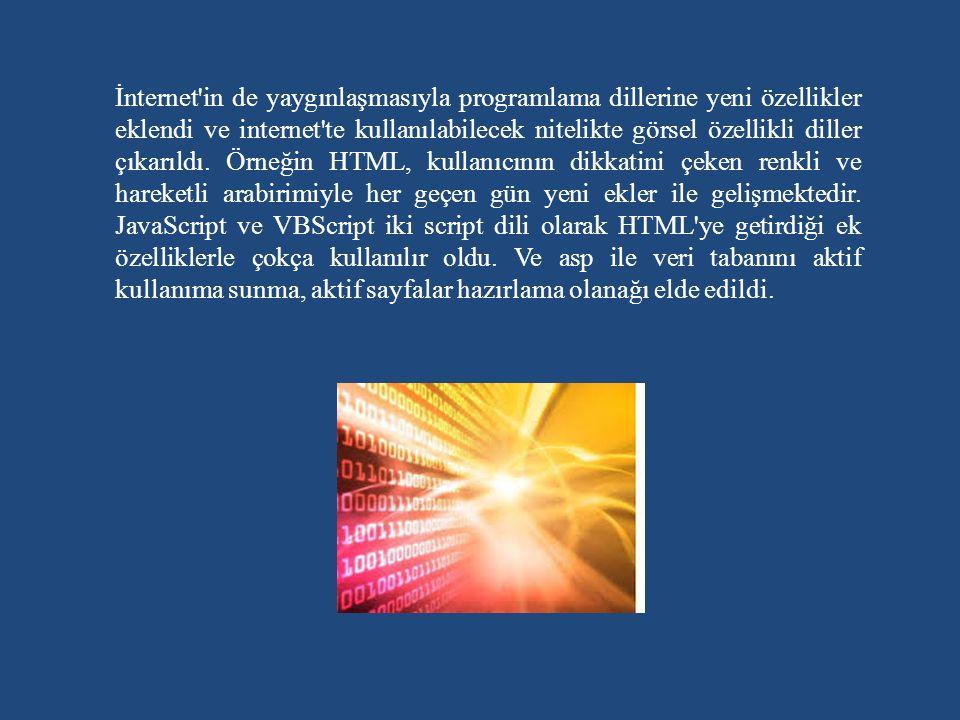 İnternet in de yaygınlaşmasıyla programlama dillerine yeni özellikler eklendi ve internet te kullanılabilecek nitelikte görsel özellikli diller çıkarıldı.