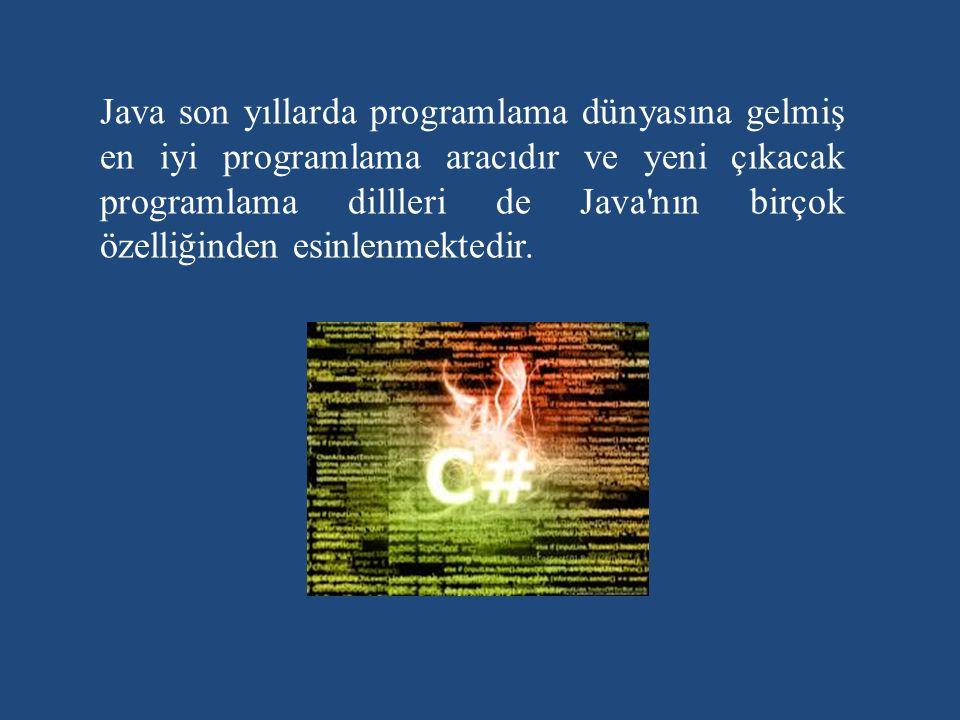 Java son yıllarda programlama dünyasına gelmiş en iyi programlama aracıdır ve yeni çıkacak programlama dillleri de Java nın birçok özelliğinden esinlenmektedir.