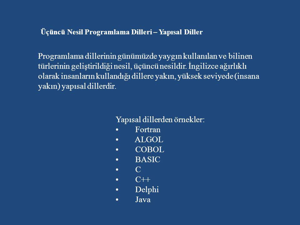 Üçüncü Nesil Programlama Dilleri – Yapısal Diller Programlama dillerinin günümüzde yaygın kullanılan ve bilinen türlerinin geliştirildiği nesil, üçüncü nesildir.