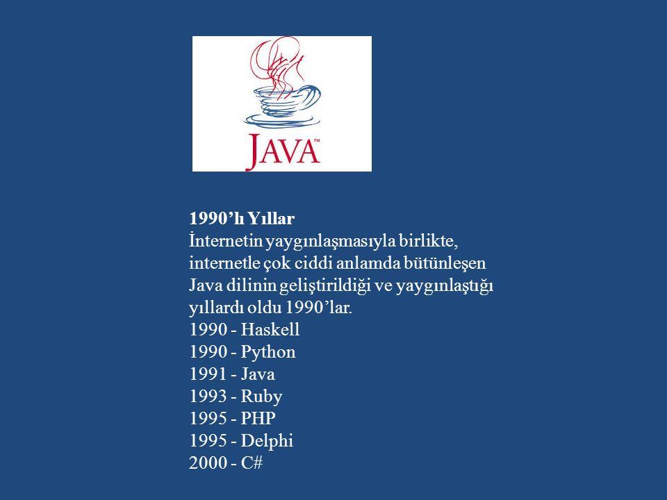 1990'lı Yıllar İnternetin yaygınlaşmasıyla birlikte, internetle çok ciddi anlamda bütünleşen Java dilinin geliştirildiği ve yaygınlaştığı yıllardı oldu 1990'lar.
