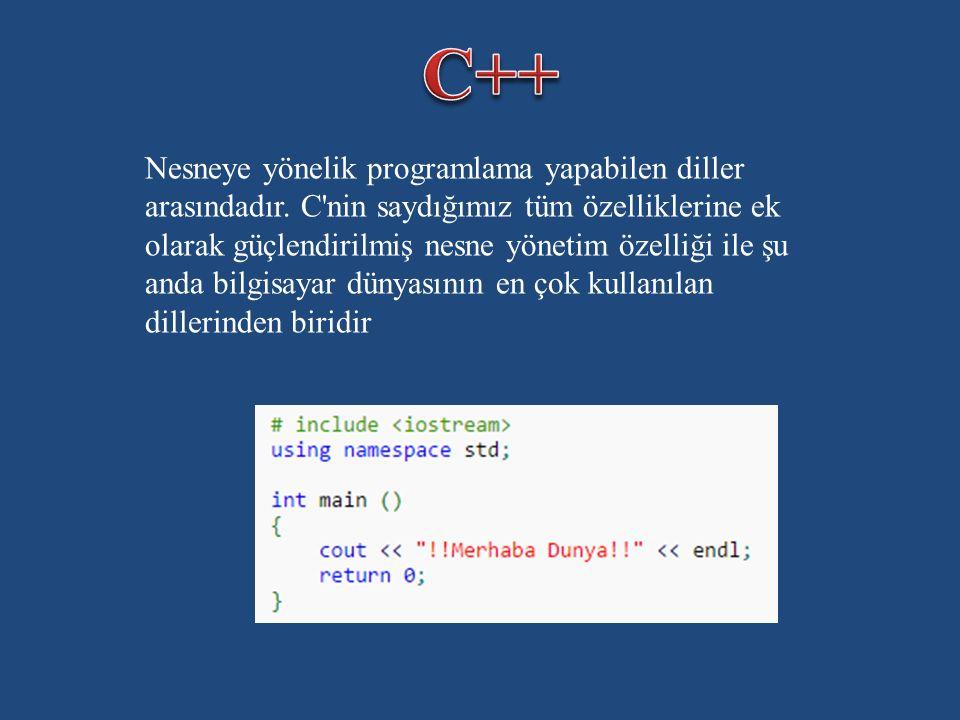 Nesneye yönelik programlama yapabilen diller arasındadır.