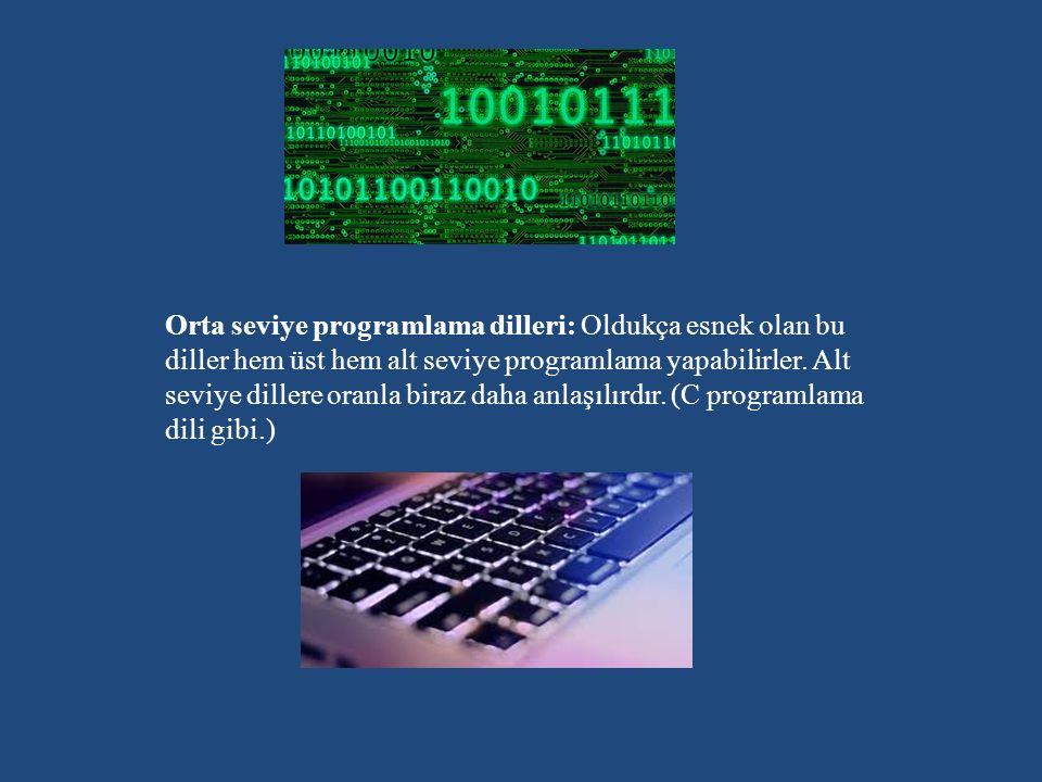 Üst seviye programlama dilleri: Olay tabanlı programlama dilleri olarak da adlandırılırlar yalnız bu programlama dilleri sadece belirli fonksiyonlar etrafında çalışırlar ve programlama hakimeyitini azaltırlar.