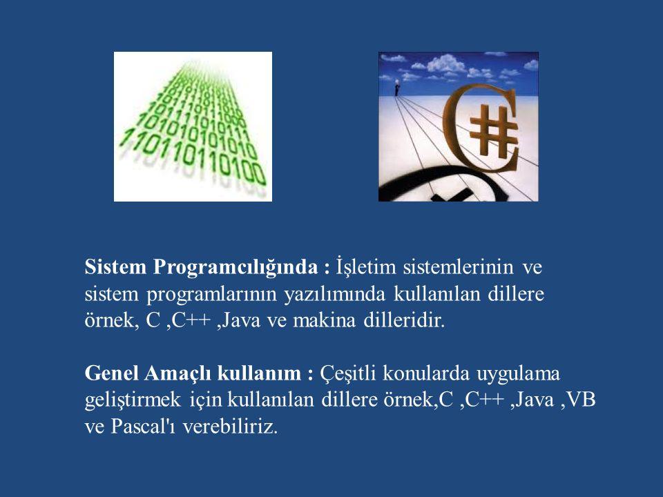 Sistem Programcılığında : İşletim sistemlerinin ve sistem programlarının yazılımında kullanılan dillere örnek, C,C++,Java ve makina dilleridir.