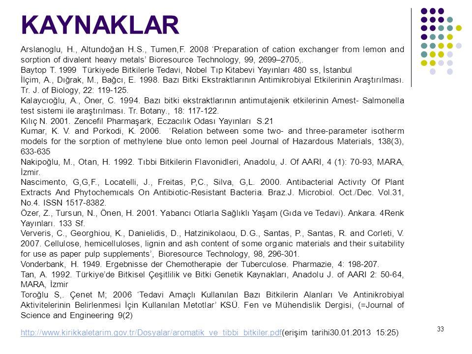KAYNAKLAR 33 Arslanoglu, H., Altundoğan H.S., Tumen,F. 2008 'Preparation of cation exchanger from lemon and sorption of divalent heavy metals' Bioreso