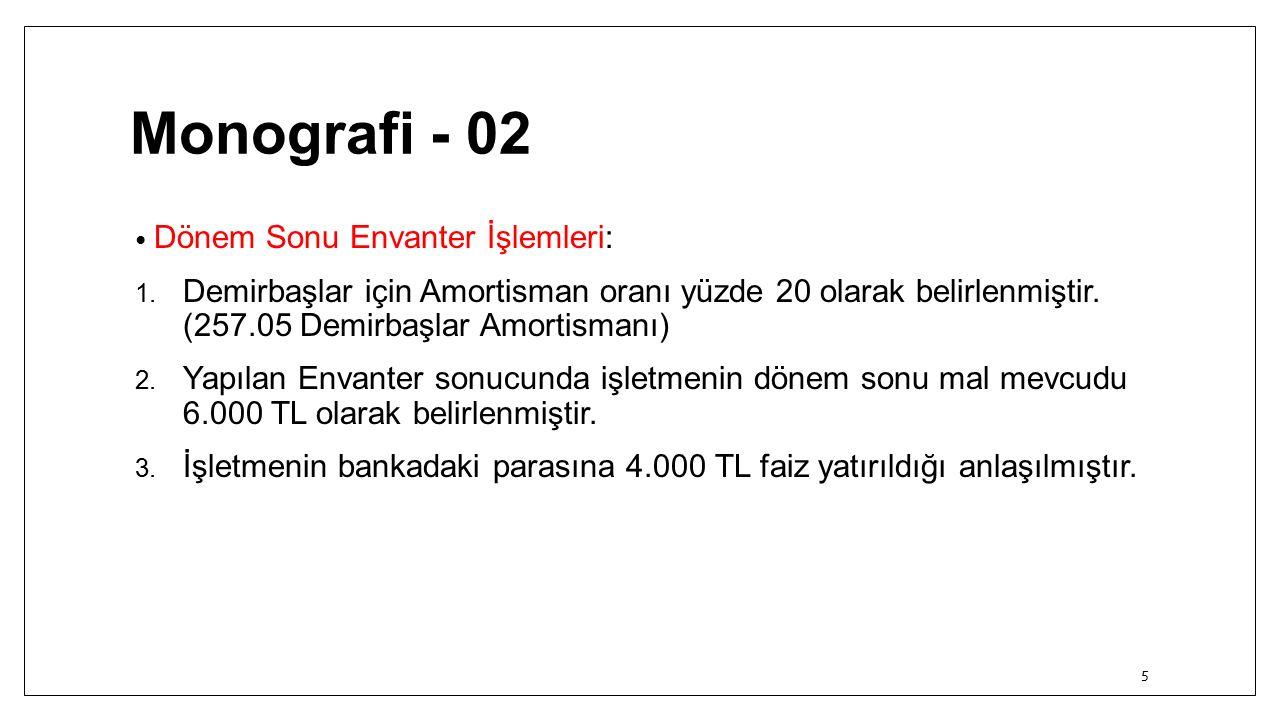 Monografi - 02 Dönem Sonu Envanter İşlemleri: 1.