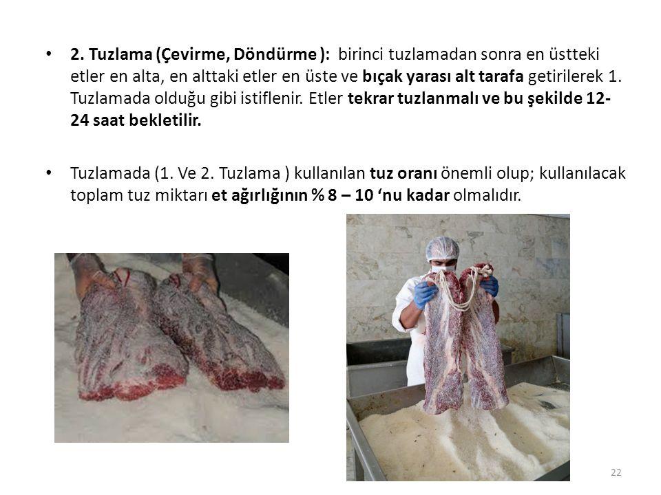 2. Tuzlama (Çevirme, Döndürme ): birinci tuzlamadan sonra en üstteki etler en alta, en alttaki etler en üste ve bıçak yarası alt tarafa getirilerek 1.