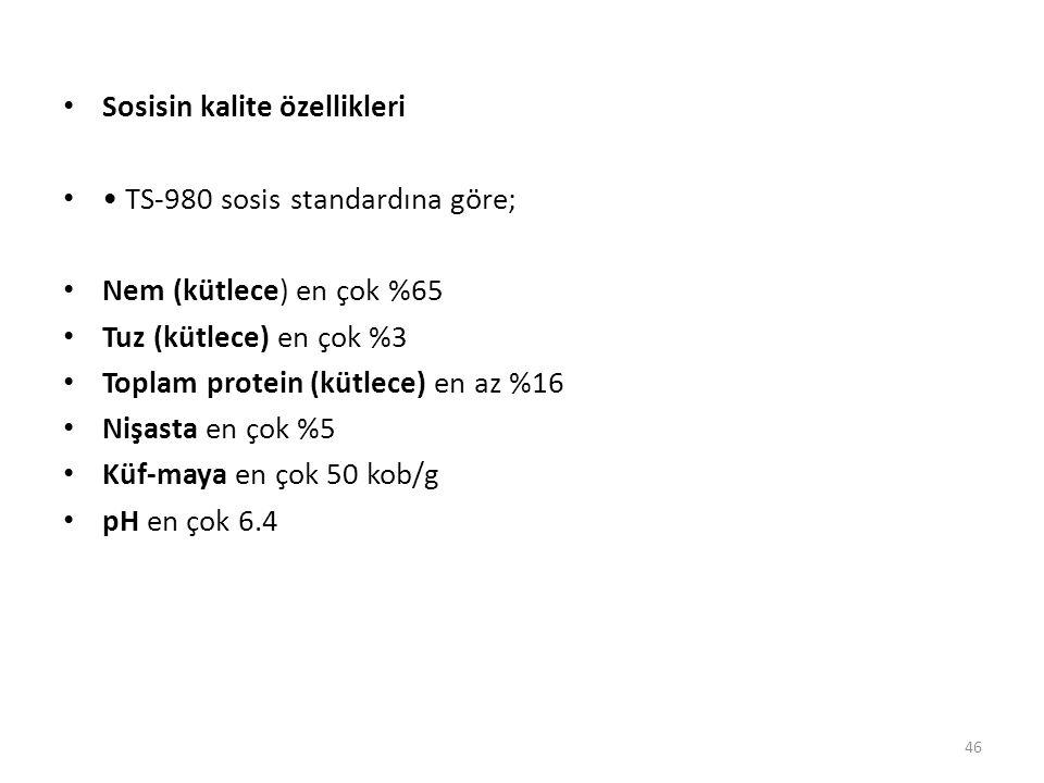 Sosisin kalite özellikleri TS-980 sosis standardına göre; Nem (kütlece) en çok %65 Tuz (kütlece) en çok %3 Toplam protein (kütlece) en az %16 Nişasta en çok %5 Küf-maya en çok 50 kob/g pH en çok 6.4 46