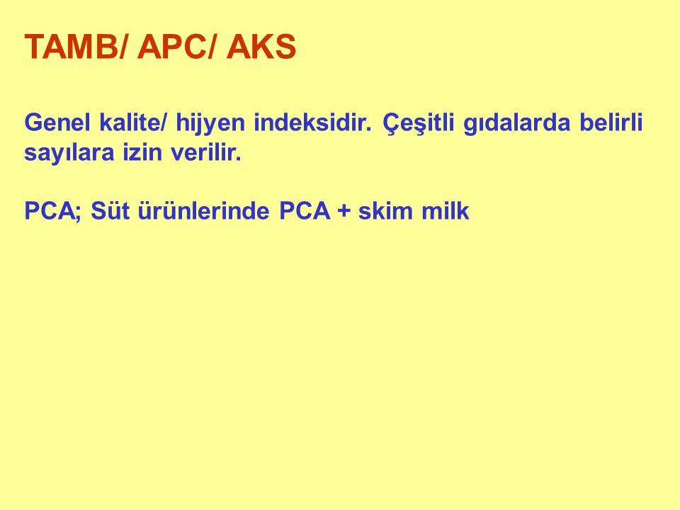 TAMB/ APC/ AKS Genel kalite/ hijyen indeksidir. Çeşitli gıdalarda belirli sayılara izin verilir.