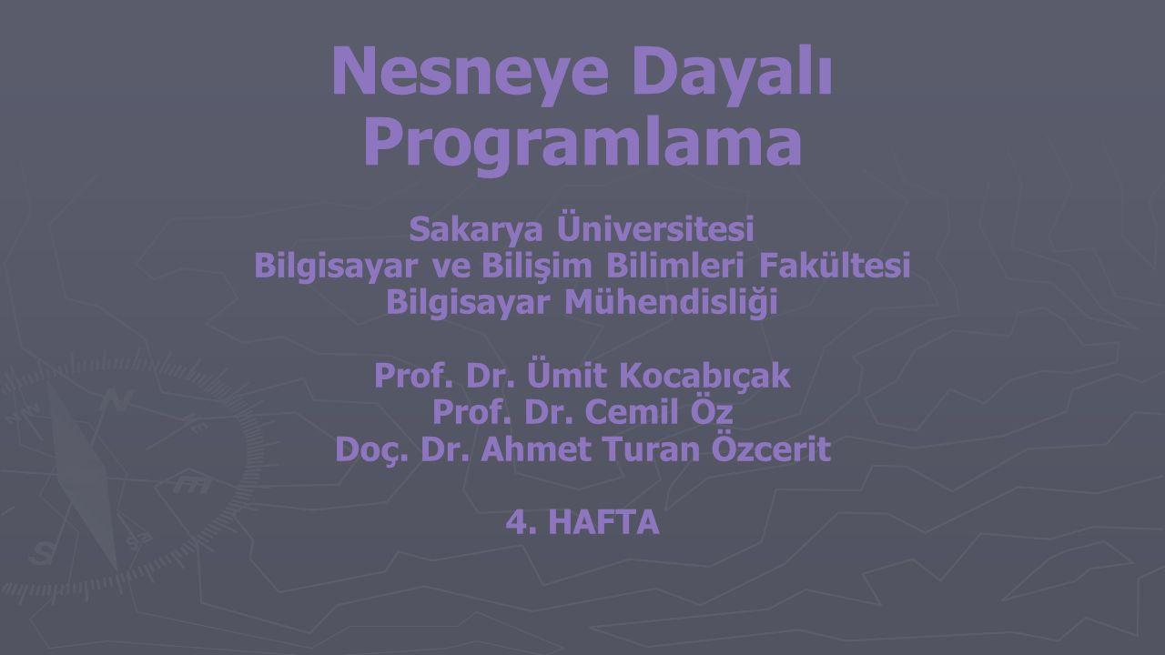 Sakarya Üniversitesi Bilgisayar ve Bilişim Bilimleri Fakültesi Bilgisayar Mühendisliği Prof. Dr. Ümit Kocabıçak Prof. Dr. Cemil Öz Doç. Dr. Ahmet Tura