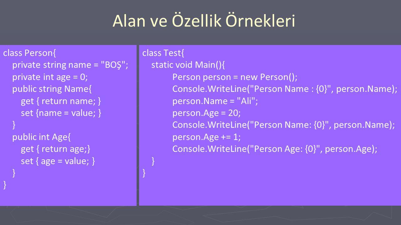 Alan ve Özellik Örnekleri class Person{ private string name = BOŞ ; private int age = 0; public string Name{ get { return name; } set {name = value; } } public int Age{ get { return age;} set { age = value; } } class Test{ static void Main(){ Person person = new Person(); Console.WriteLine( Person Name : {0} , person.Name); person.Name = Ali ; person.Age = 20; Console.WriteLine( Person Name: {0} , person.Name); person.Age += 1; Console.WriteLine( Person Age: {0} , person.Age); }