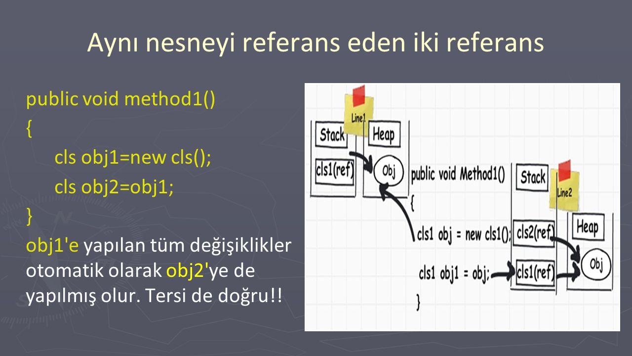 Aynı nesneyi referans eden iki referans public void method1() { cls obj1=new cls(); cls obj2=obj1; } obj1 e yapılan tüm değişiklikler otomatik olarak obj2 ye de yapılmış olur.