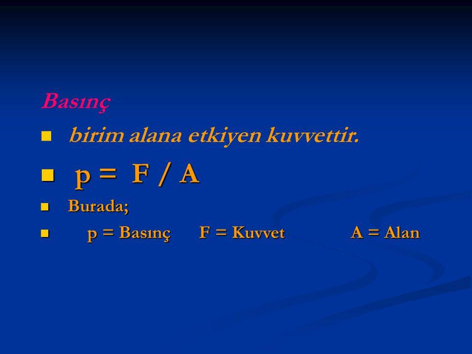Basınç birim alana etkiyen kuvvettir. p = F / A p = F / A Burada; Burada; p = Basınç F = Kuvvet A = Alan p = Basınç F = Kuvvet A = Alan