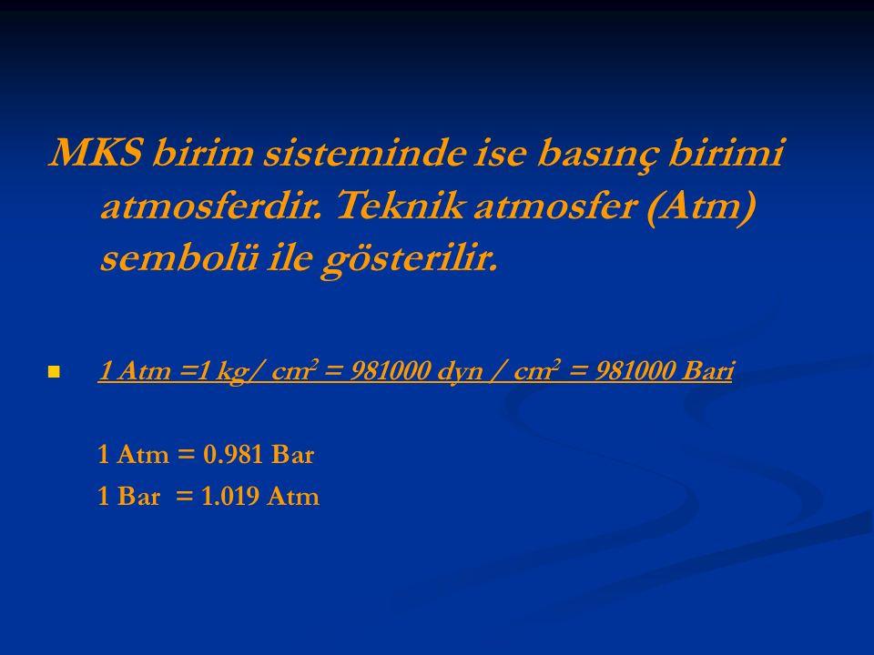 MKS birim sisteminde ise basınç birimi atmosferdir. Teknik atmosfer (Atm) sembolü ile gösterilir. 1 Atm =1 kg/ cm 2 = 981000 dyn / cm 2 = 981000 Bari