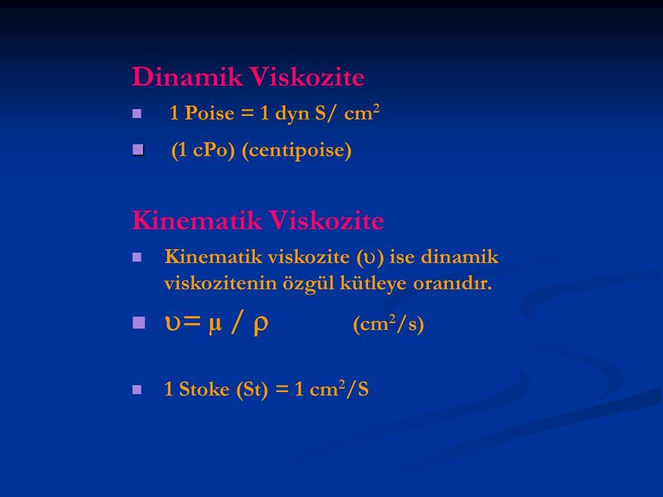 Dinamik Viskozite 1 Poise = 1 dyn S/ cm 2 (1 cPo) (centipoise) Kinematik Viskozite Kinematik viskozite (  ) ise dinamik viskozitenin özgül kütleye or