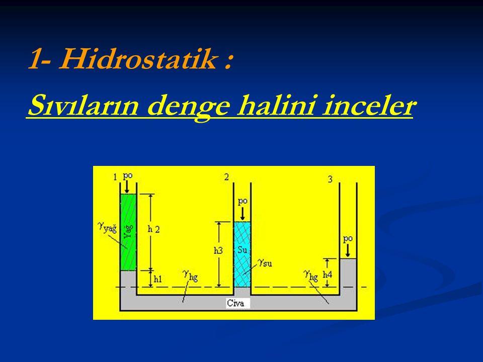 1- Hidrostatik : Sıvıların denge halini inceler