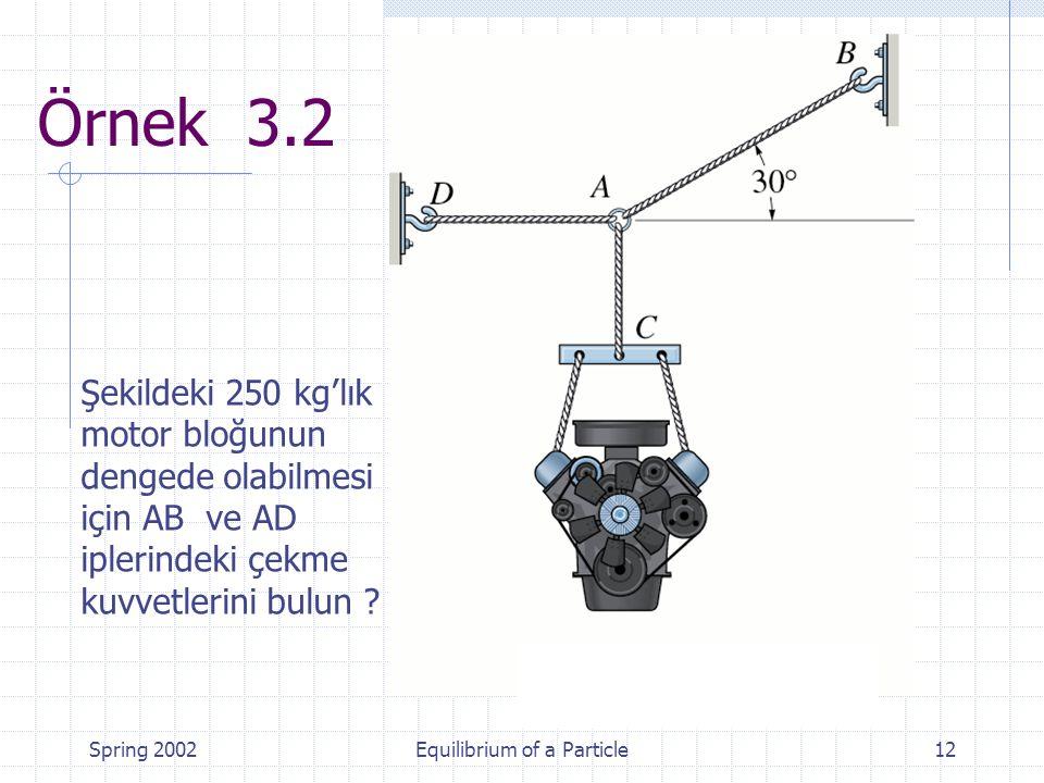 Spring 2002Equilibrium of a Particle12 Örnek 3.2 Şekildeki 250 kg'lık motor bloğunun dengede olabilmesi için AB ve AD iplerindeki çekme kuvvetlerini bulun ?