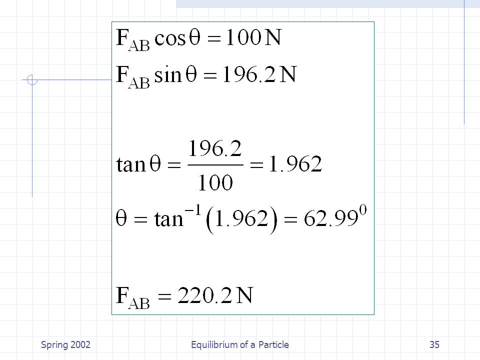 Spring 2002Equilibrium of a Particle35