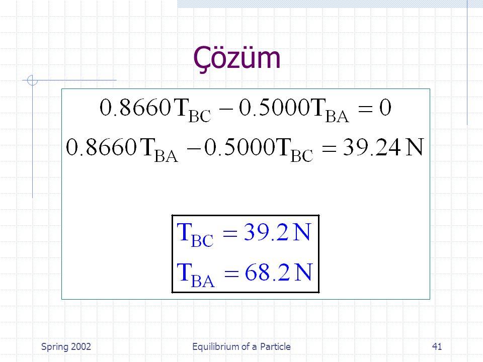 Spring 2002Equilibrium of a Particle41 Çözüm