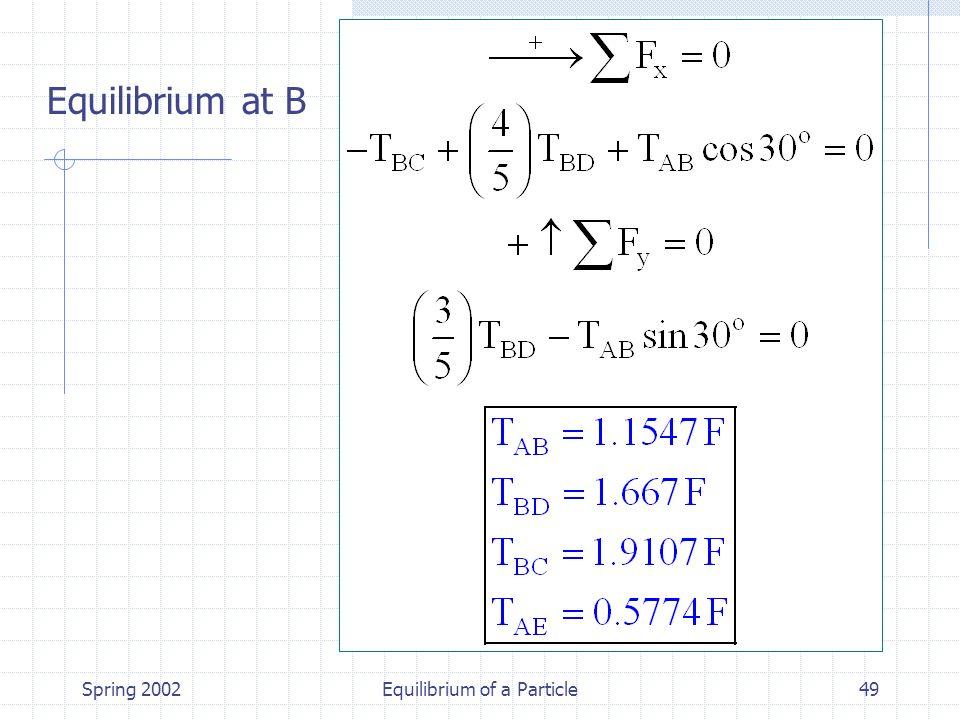 Spring 2002Equilibrium of a Particle49 Equilibrium at B