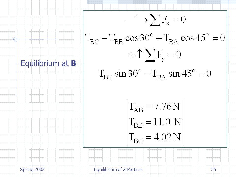 Spring 2002Equilibrium of a Particle55 Equilibrium at B