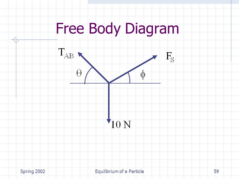 Spring 2002Equilibrium of a Particle59 Free Body Diagram
