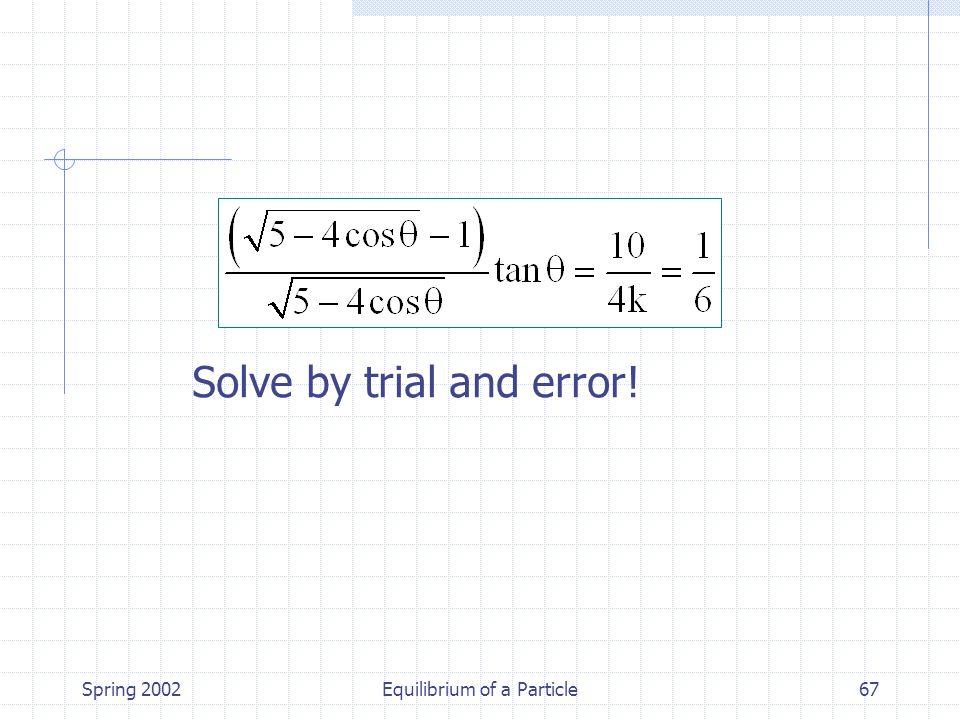 Spring 2002Equilibrium of a Particle67 Solve by trial and error!