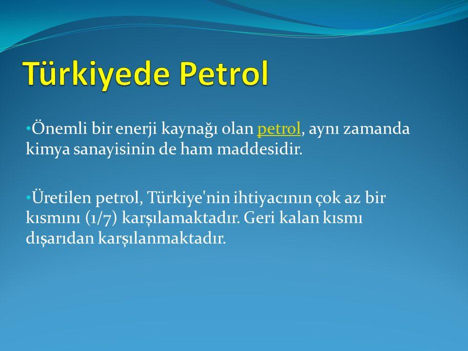 Önemli bir enerji kaynağı olan petrol, aynı zamanda kimya sanayisinin de ham maddesidir.petrol Üretilen petrol, Türkiye nin ihtiyacının çok az bir kısmını (1/7) karşılamaktadır.