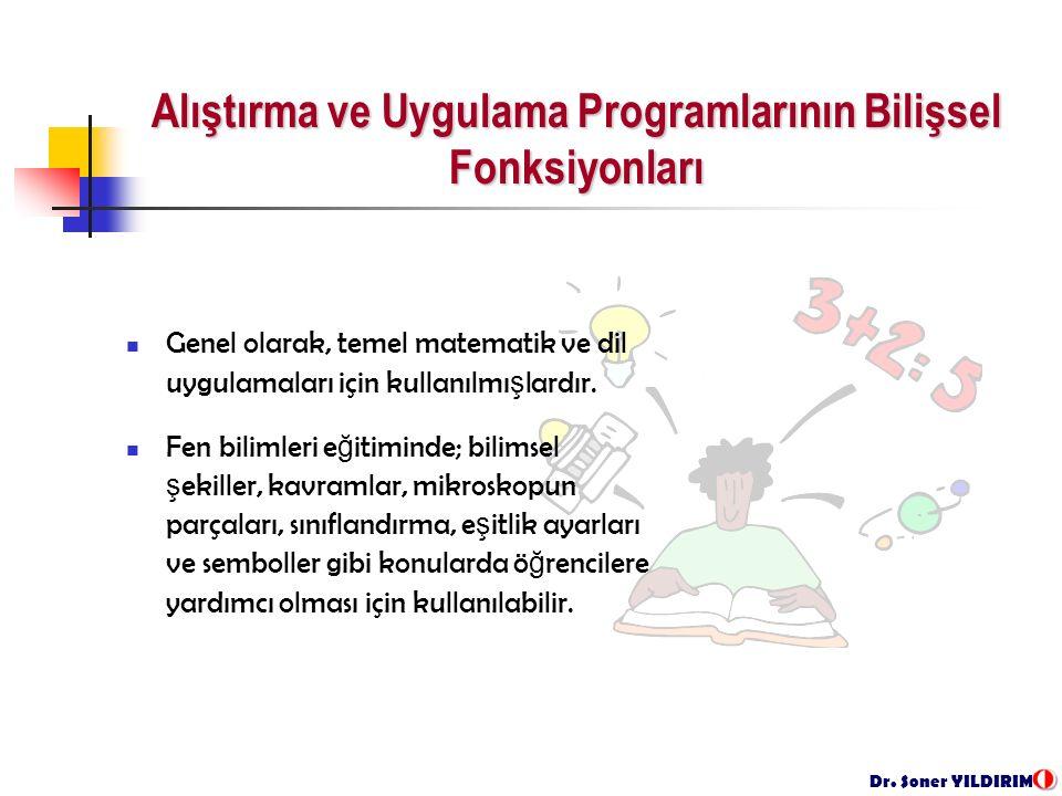 Dr. Soner YILDIRIM Genel olarak, temel matematik ve dil uygulamaları için kullanılmı ş lardır.