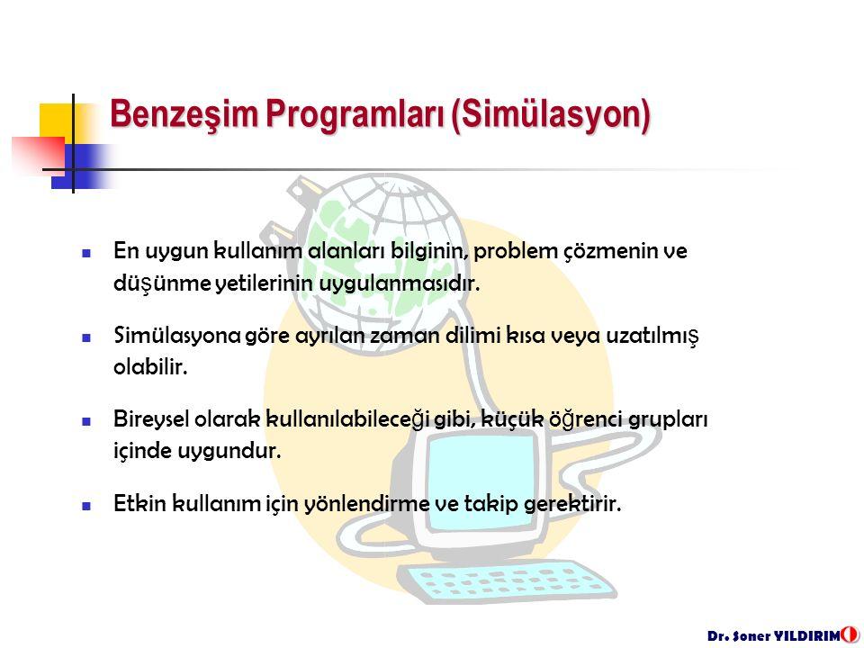 Dr. Soner YILDIRIM Benzeşim Programları (Simülasyon) En uygun kullanım alanları bilginin, problem çözmenin ve dü ş ünme yetilerinin uygulanmasıdır. Si