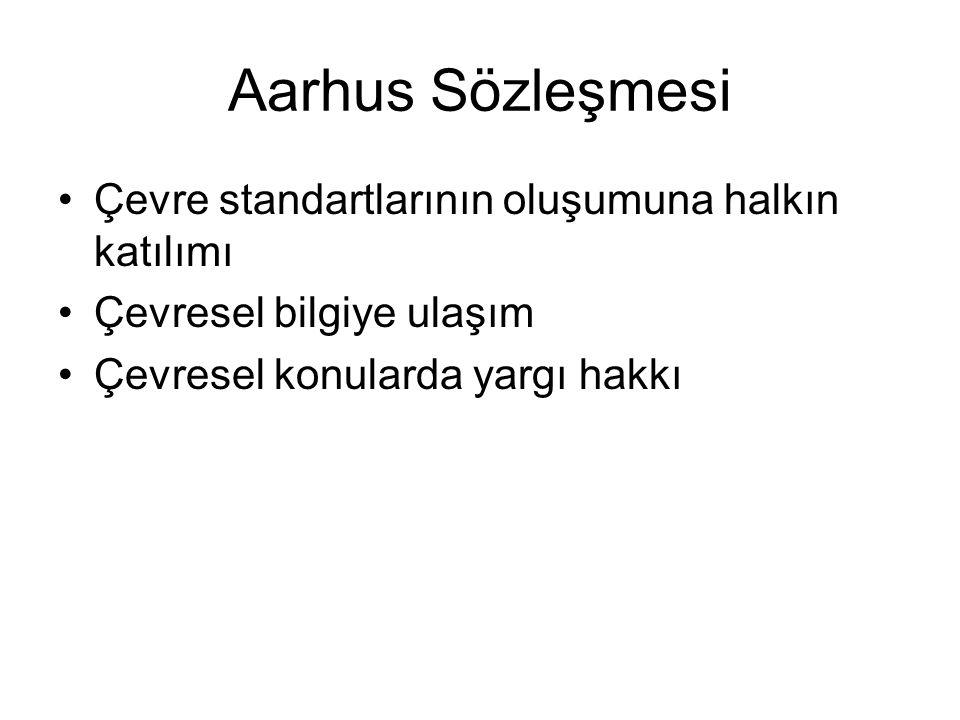 Aarhus Sözleşmesi Çevre standartlarının oluşumuna halkın katılımı Çevresel bilgiye ulaşım Çevresel konularda yargı hakkı