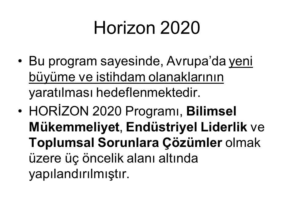 Horizon 2020 Bu program sayesinde, Avrupa'da yeni büyüme ve istihdam olanaklarının yaratılması hedeflenmektedir.