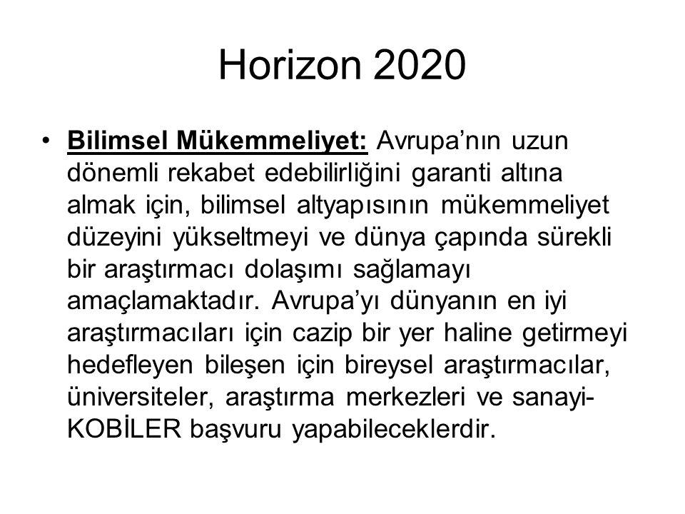 Horizon 2020 Bilimsel Mükemmeliyet: Avrupa'nın uzun dönemli rekabet edebilirliğini garanti altına almak için, bilimsel altyapısının mükemmeliyet düzeyini yükseltmeyi ve dünya çapında sürekli bir araştırmacı dolaşımı sağlamayı amaçlamaktadır.