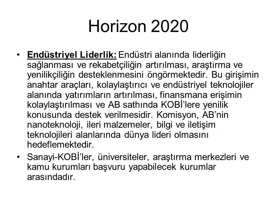 Horizon 2020 Endüstriyel Liderlik: Endüstri alanında liderliğin sağlanması ve rekabetçiliğin artırılması, araştırma ve yenilikçiliğin desteklenmesini öngörmektedir.