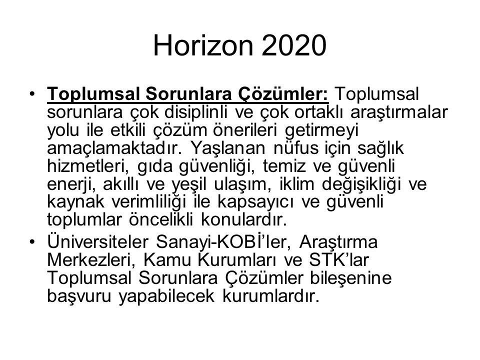Horizon 2020 Toplumsal Sorunlara Çözümler: Toplumsal sorunlara çok disiplinli ve çok ortaklı araştırmalar yolu ile etkili çözüm önerileri getirmeyi amaçlamaktadır.