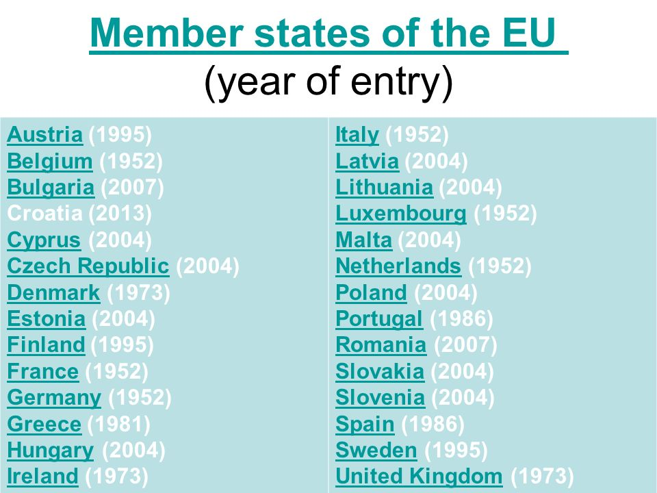 Member states of the EU Member states of the EU (year of entry) AustriaAustria (1995) Belgium (1952) Bulgaria (2007) Croatia (2013) Belgium Bulgaria CyprusCyprus (2004) Czech Republic (2004) Denmark (1973) Estonia (2004) Finland (1995) France (1952) Germany (1952) Greece (1981) Hungary (2004) Ireland (1973) Czech Republic Denmark Estonia Finland France Germany Greece Hungary Ireland ItalyItaly (1952) Latvia (2004) Lithuania (2004) Latvia Lithuania LuxembourgLuxembourg (1952) Malta (2004) Netherlands (1952) Poland (2004) Portugal (1986) Romania (2007) Slovakia (2004) Slovenia (2004) Spain (1986) Sweden (1995) United Kingdom (1973) Malta Netherlands Poland Portugal Romania Slovakia Slovenia Spain Sweden United Kingdom