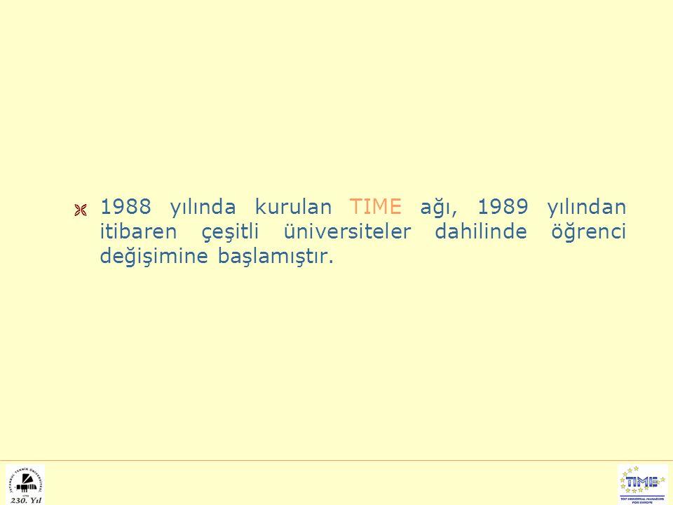  1988 yılında kurulan TIME ağı, 1989 yılından itibaren çeşitli üniversiteler dahilinde öğrenci değişimine başlamıştır.
