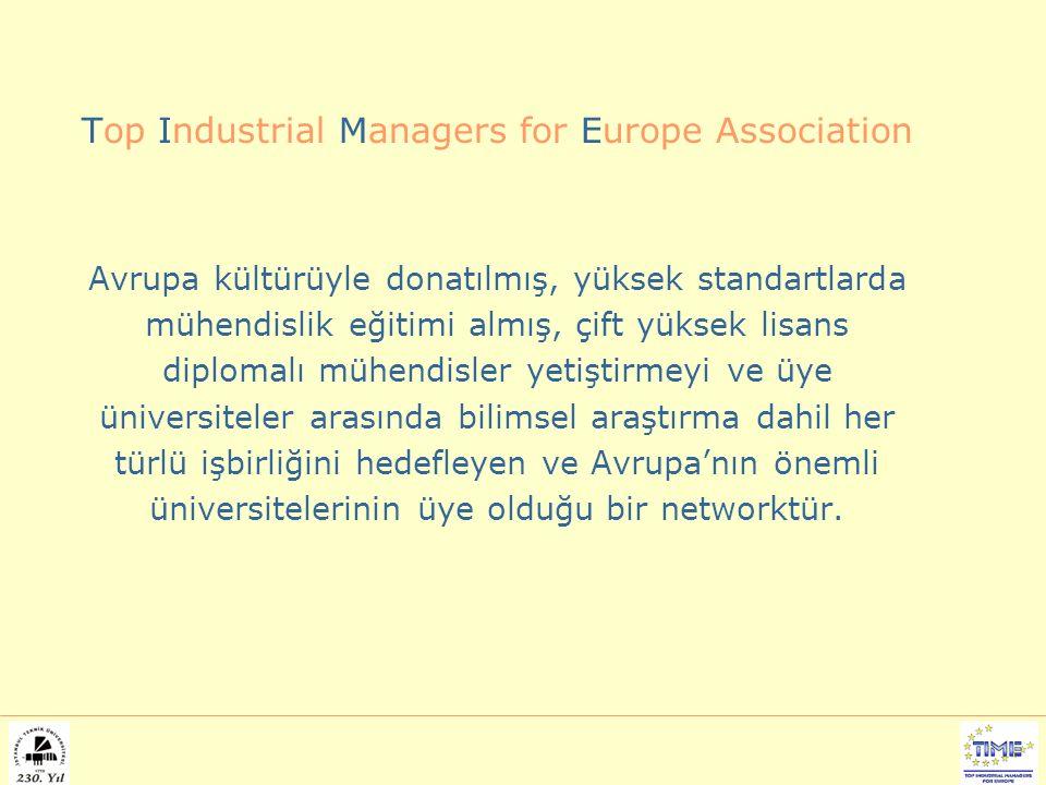 Top Industrial Managers for Europe Association Avrupa kültürüyle donatılmış, yüksek standartlarda mühendislik eğitimi almış, çift yüksek lisans diplomalı mühendisler yetiştirmeyi ve üye üniversiteler arasında bilimsel araştırma dahil her türlü işbirliğini hedefleyen ve Avrupa'nın önemli üniversitelerinin üye olduğu bir networktür.