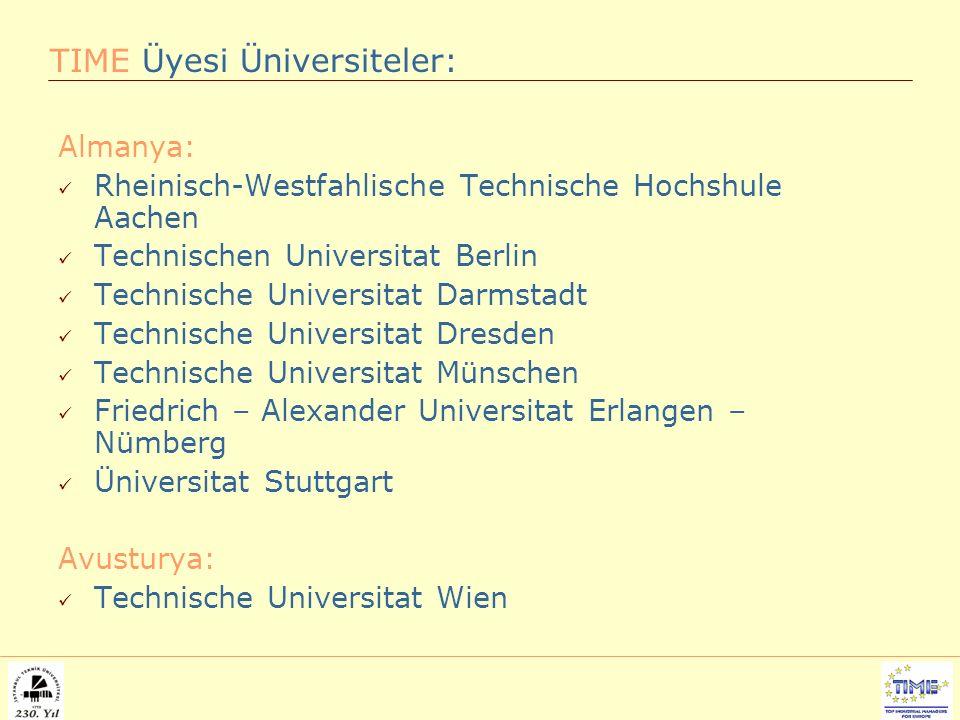 Almanya: Rheinisch-Westfahlische Technische Hochshule Aachen Technischen Universitat Berlin Technische Universitat Darmstadt Technische Universitat Dresden Technische Universitat Münschen Friedrich – Alexander Universitat Erlangen – Nümberg Üniversitat Stuttgart Avusturya: Technische Universitat Wien TIME Üyesi Üniversiteler: