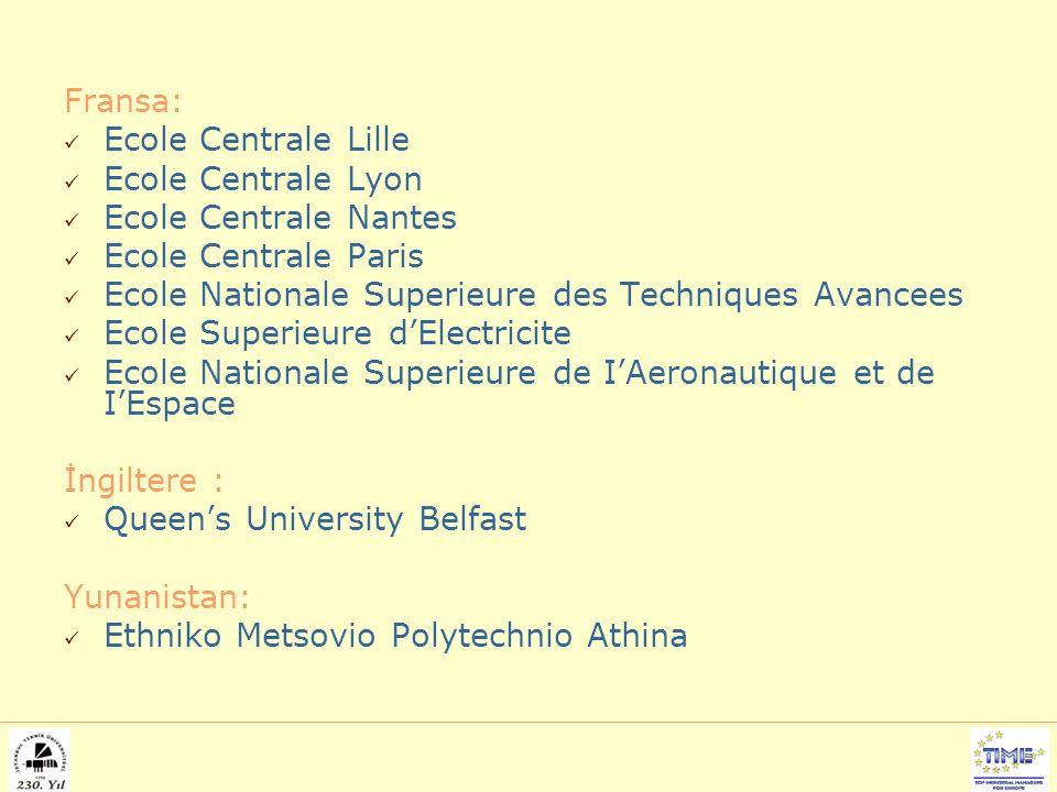 Fransa: Ecole Centrale Lille Ecole Centrale Lyon Ecole Centrale Nantes Ecole Centrale Paris Ecole Nationale Superieure des Techniques Avancees Ecole Superieure d'Electricite Ecole Nationale Superieure de I'Aeronautique et de I'Espace İngiltere : Queen's University Belfast Yunanistan: Ethniko Metsovio Polytechnio Athina