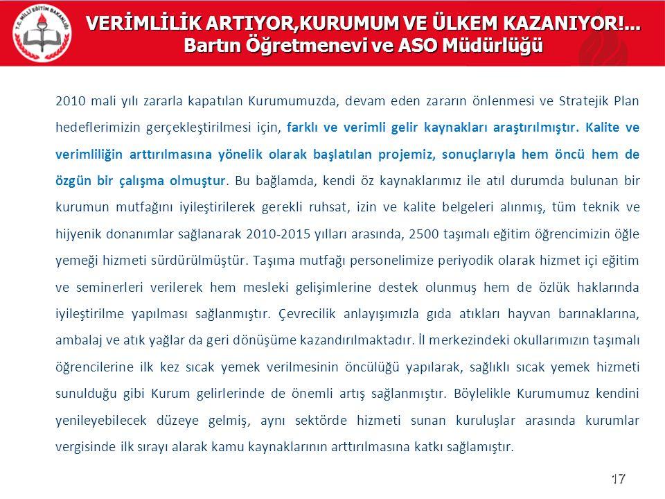 VERİMLİLİK ARTIYOR,KURUMUM VE ÜLKEM KAZANIYOR!... Bartın Öğretmenevi ve ASO Müdürlüğü 2010 mali yılı zararla kapatılan Kurumumuzda, devam eden zararın