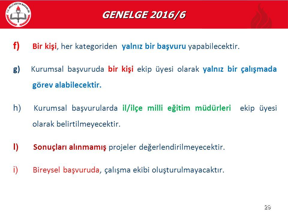 GENELGE 2016/6 GENELGE 2016/6 f) f) Bir kişi, her kategoriden yalnız bir başvuru yapabilecektir. g) Kurumsal başvuruda bir kişi ekip üyesi olarak yaln