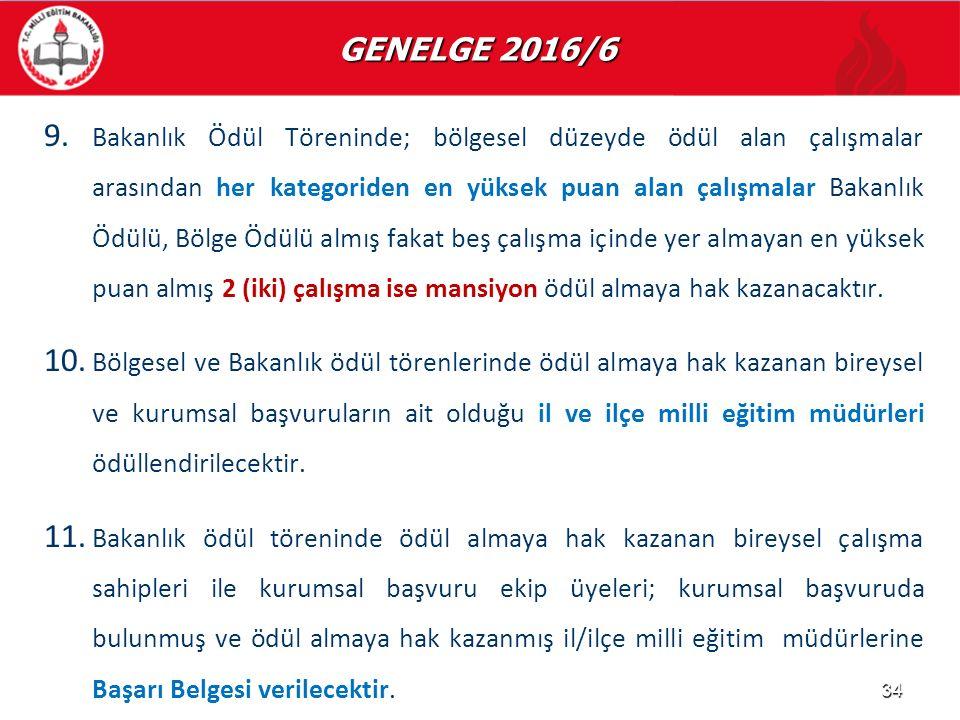 GENELGE 2016/6 GENELGE 2016/6 9. 9. Bakanlık Ödül Töreninde; bölgesel düzeyde ödül alan çalışmalar arasından her kategoriden en yüksek puan alan çalış