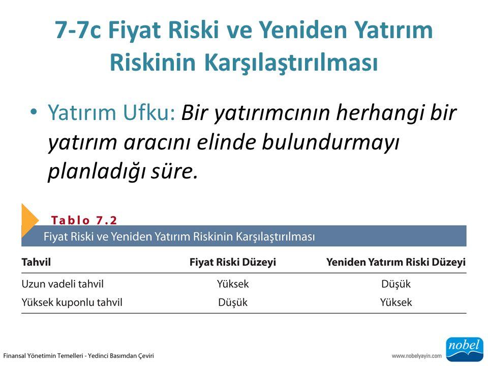 7-7c Fiyat Riski ve Yeniden Yatırım Riskinin Karşılaştırılması Yatırım Ufku: Bir yatırımcının herhangi bir yatırım aracını elinde bulundurmayı planlad