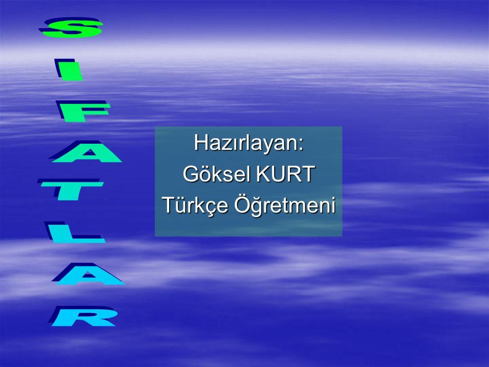 Hazırlayan: Göksel KURT Türkçe Öğretmeni