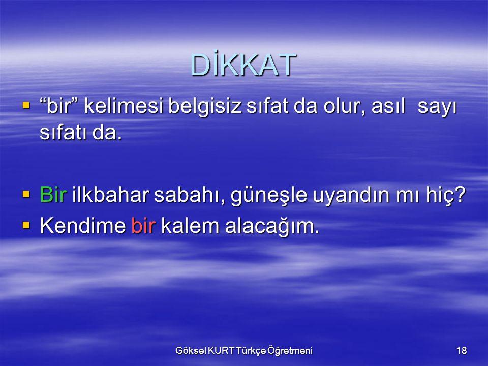 Göksel KURT Türkçe Öğretmeni18 DİKKAT  bir kelimesi belgisiz sıfat da olur, asıl sayı sıfatı da.