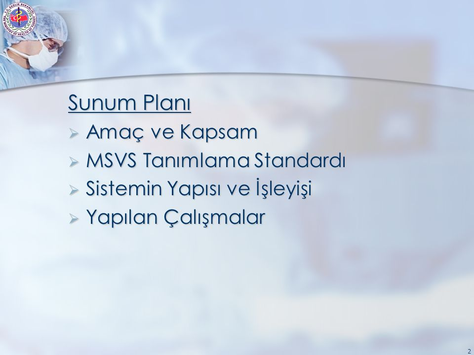 2 Sunum Planı  Amaç ve Kapsam  MSVS Tanımlama Standardı  Sistemin Yapısı ve İşleyişi  Yapılan Çalışmalar